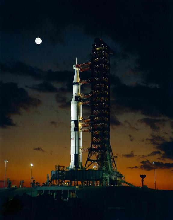 The giant Saturn V rocket for the Apollo 4 mission at the Kennedy Space Center's launch complex 39A stands at the dawn of November 8, 1967, during the pre-launch alert.