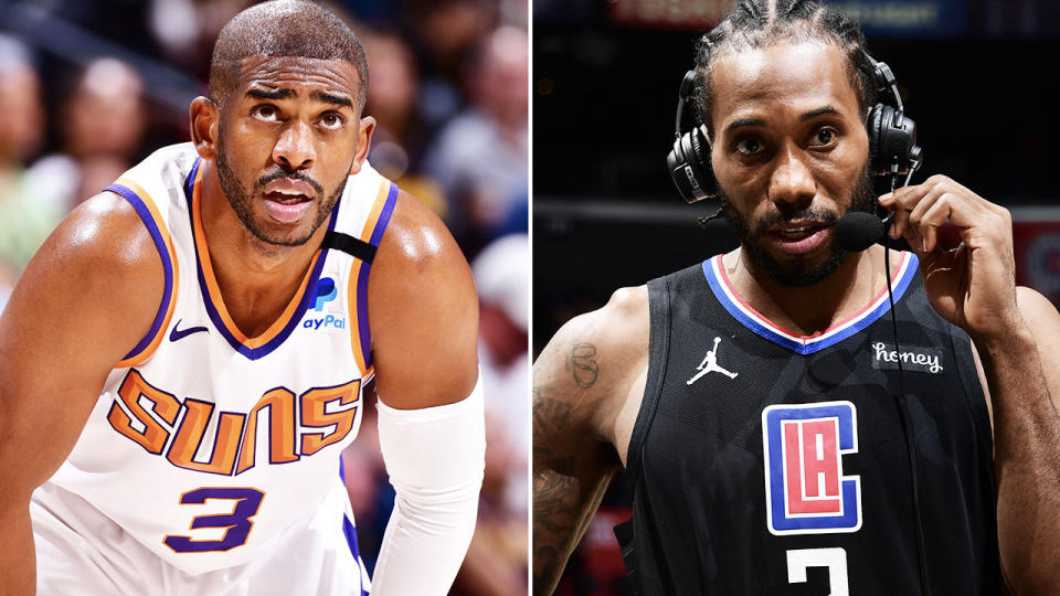 Chris Paul and Kawhi Leonard, pictured here in action in the NBA Playoffs.