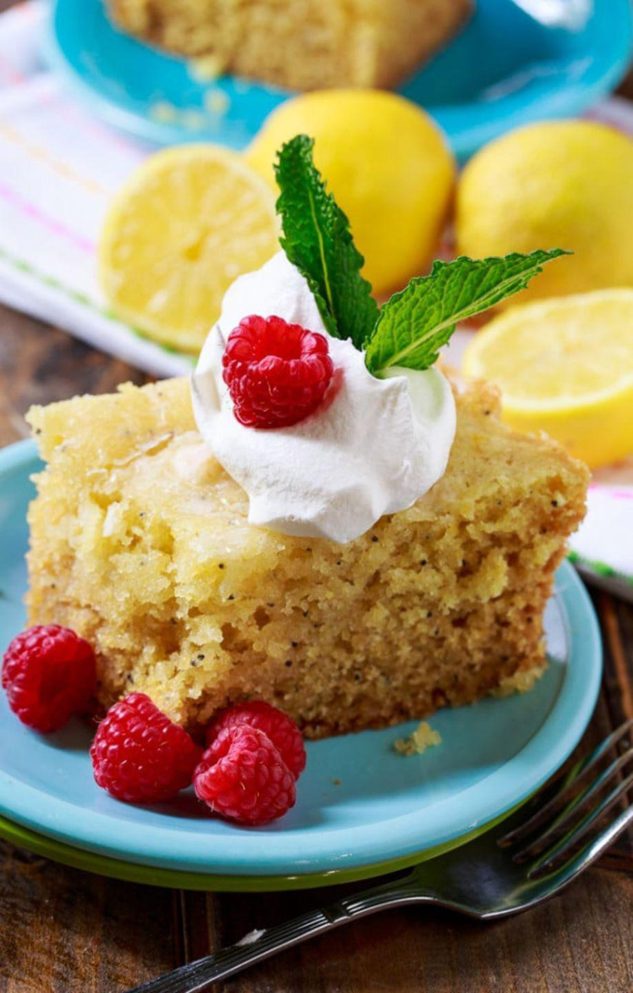 """<p>A dollop of whipped cream, fresh fruit, and mint make this dessert oh-so-refreshing. </p><p><strong>Get the recipe at <a href=""""https://spicysouthernkitchen.com/slow-cooker-lemon-cake/"""" rel=""""nofollow noopener"""" target=""""_blank"""" data-ylk=""""slk:Spicy Southern Kitchen"""" class=""""link rapid-noclick-resp"""">Spicy Southern Kitchen</a>.</strong></p>"""