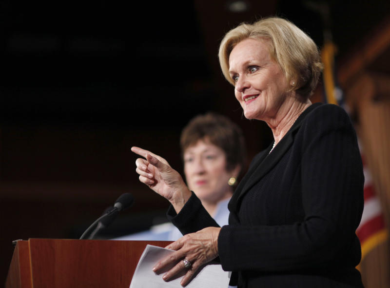 FILE - In this Dec. 6, 2011, file photo Sen. Claire McCaskill, D-Mo., speaks during a news conference about agreement over the jobs bill on Capitol Hill in Washington. Republicans' clear shot at winning control of the Senate is attracting tens of millions of dollars from GOP-allied outside groups eager to spend on a surer bet than the White House race. The U.S. Chamber of Commerce aired 10 days of ads against McCaskill and the Karl Rove-inspired American Crossroads challenged the Democratic senator as well in a concerted attempt. (AP Photo/Pablo Martinez Monsivais, File)