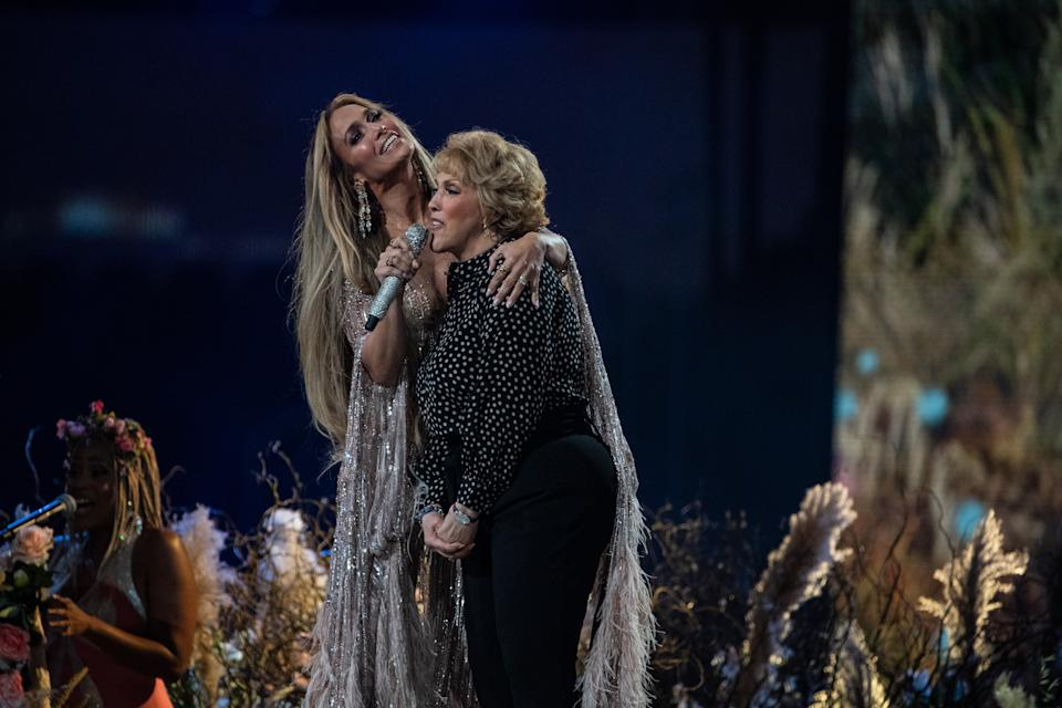Jennifer Lopez performs with her mom, Guadalupe Rodríguez, at the Vax Live concert in May 2021