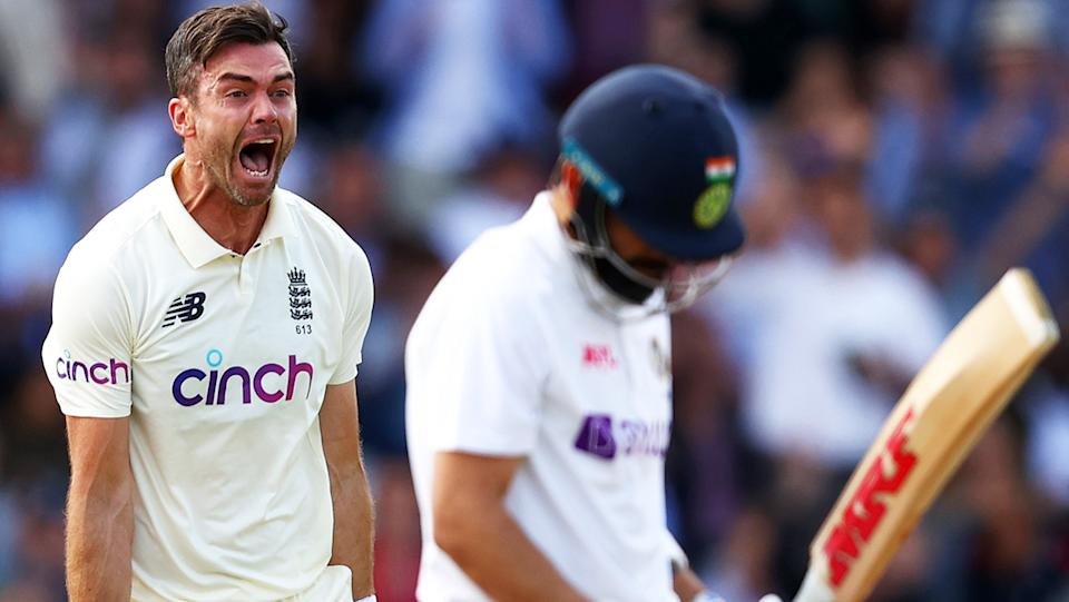 Jimmy Anderson, pictured here celebrating after taking the wicket of Virat Kohli.