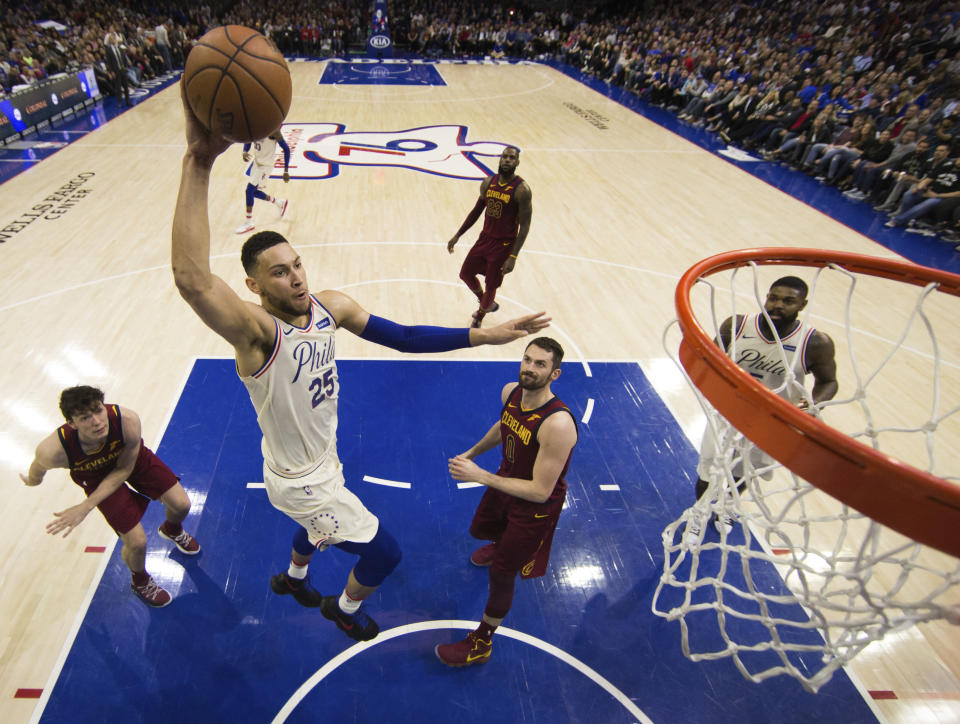 Ben Simmons has given a lot of defenders the same look Kevin Love's sporting here during his rookie season with the 76ers. (AP)