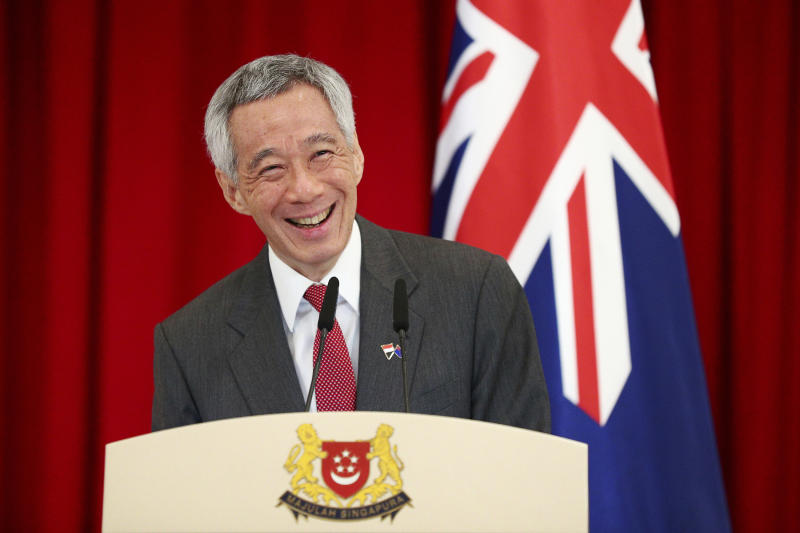 Singapore's Prime Minister Lee Hsien Loong speaks during a joint press conference with New Zealand's Prime Minister Jacinda Ardern at the Istana or presidential palace in Singapore, Friday, May 17, 2019. (AP Photo/Yong Teck Lim)