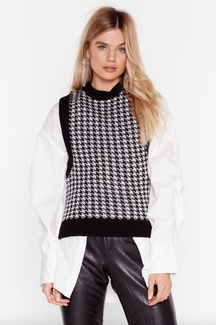 Nasty Gal Tell Us the Houndstooth Knitted Vest Top in Black (Photo via Nasty Gal)