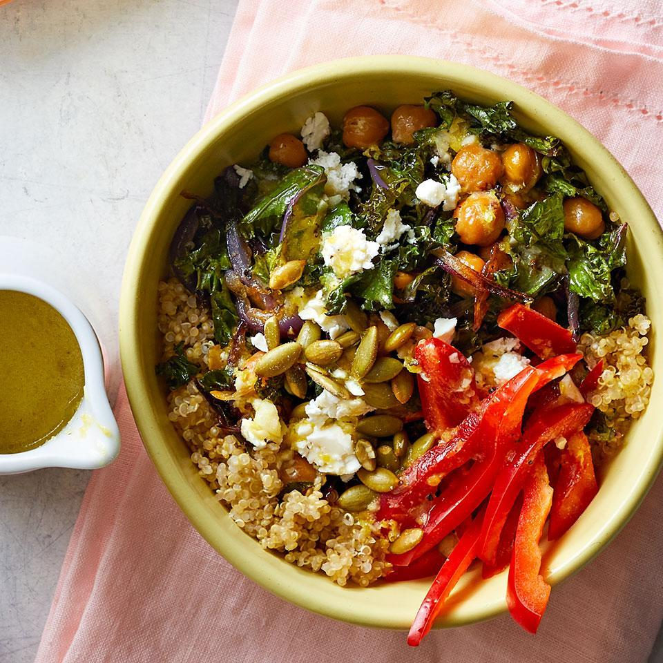 <p>Our favorite part of these vegetarian grain bowls is the tangy lemon vinaigrette, which ties together a satisfying combo of quinoa, toasted pumpkin seeds, and roasted chickpeas and kale. Whip them up for easy meal-prep lunches or a healthy and satisfying dinner.</p>