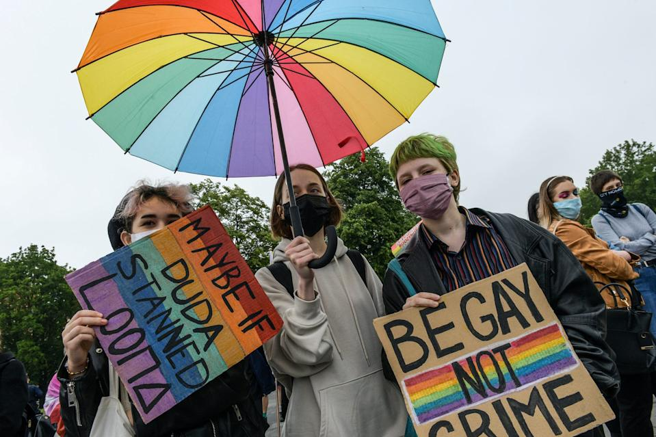 Members of a group supporting LGBT rights protest in Wroclaw, Poland June 21, 2020.