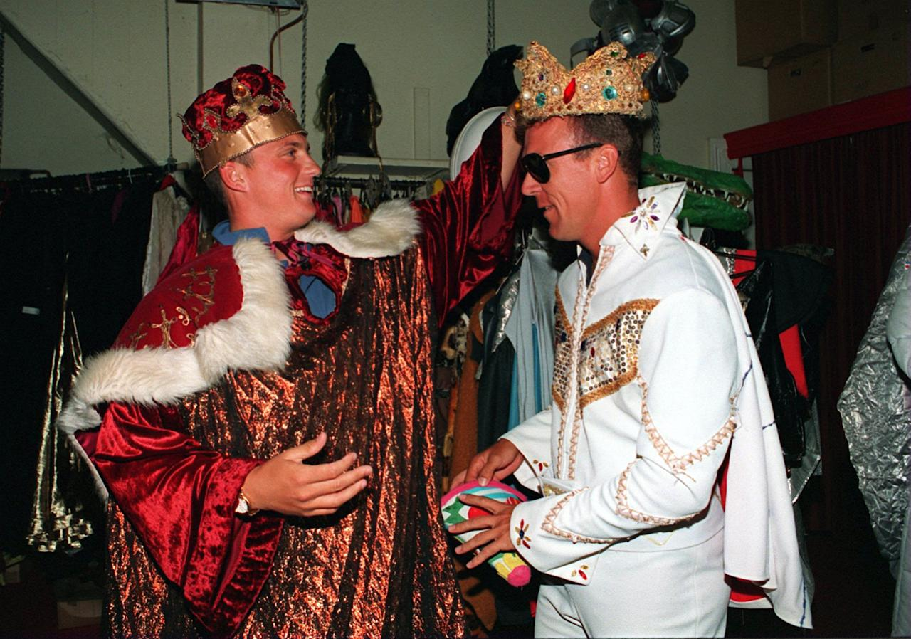 21 DEC 1994: ENGLAND CRICKETERS  TRY THEIR FANCY DRESS OUTFITS ON FOR THE CHRISTMAS DINNER  DARREN GOUGH AS THE KING AND ALEC STEWART AS ELVIS  Mandatory Credit: Graham Chadwick/ALLSPORT