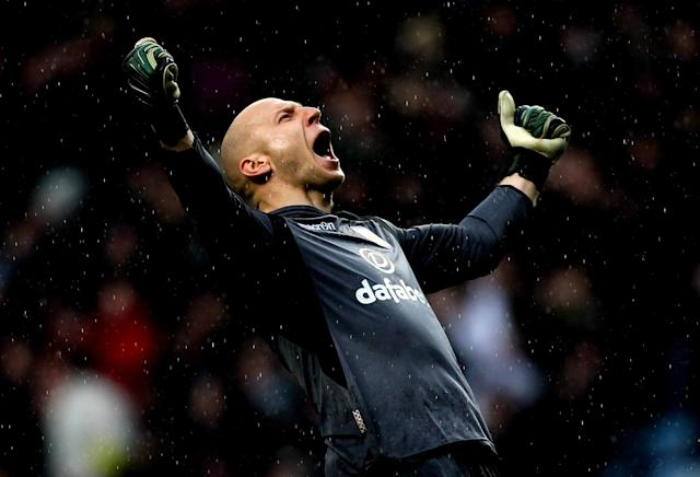 BIRMINGHAM, ENGLAND - MARCH 02: Brad Guzan of Aston Villa celebrates his team's third goal during the Barclays Premier League match between Aston Villa and Norwich City at Villa Park on March 2, 2014 in Birmingham, England. (Photo by Ben Hoskins/Getty Images)