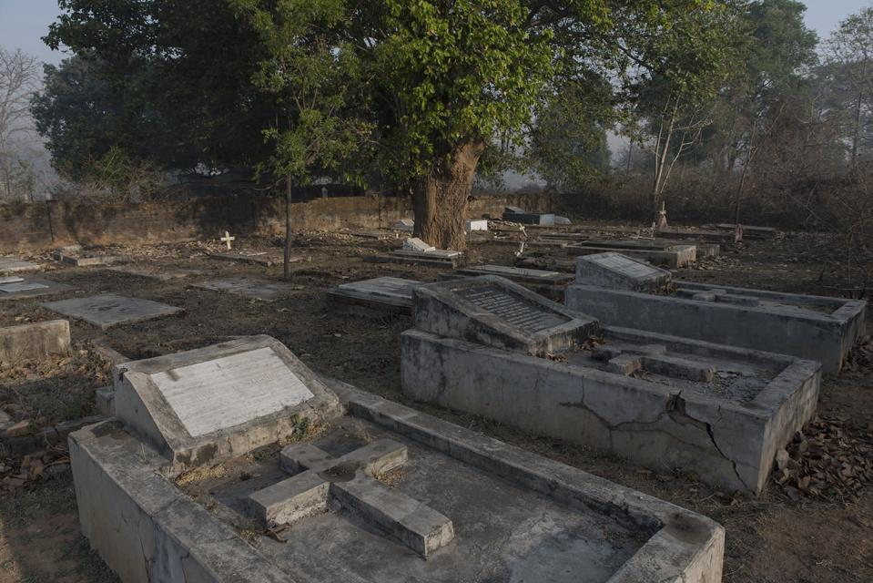 Rows of graves at the McCluskieganj cemetery remain as reminders of the times gone by.