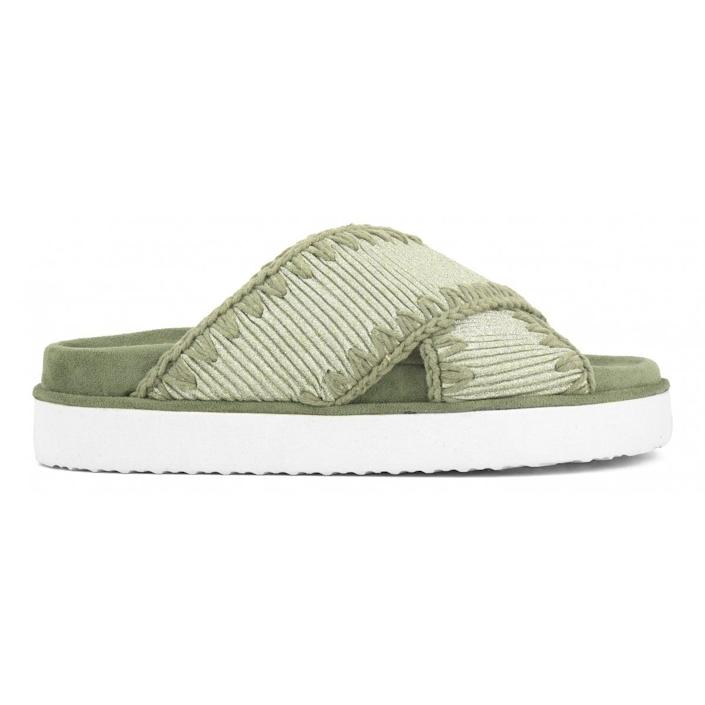 <p>Handcrafted in a chic glitter fabric, this <span>Mou Criss-Cross Bio Sandal</span> ($245) is supportive, lightweight, and extremely cozy.</p>