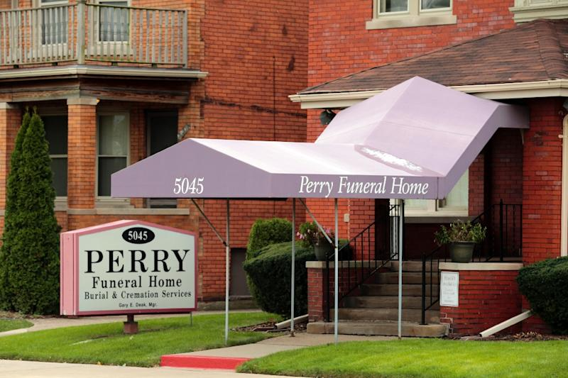 The Perry Funeral Home on Trumbull Avenue in Detroit is pictured on October 21, 2018, where it was reported that 63 remains of fetuses were removed, 36 stored in boxes and another 27 found in freezers, police say