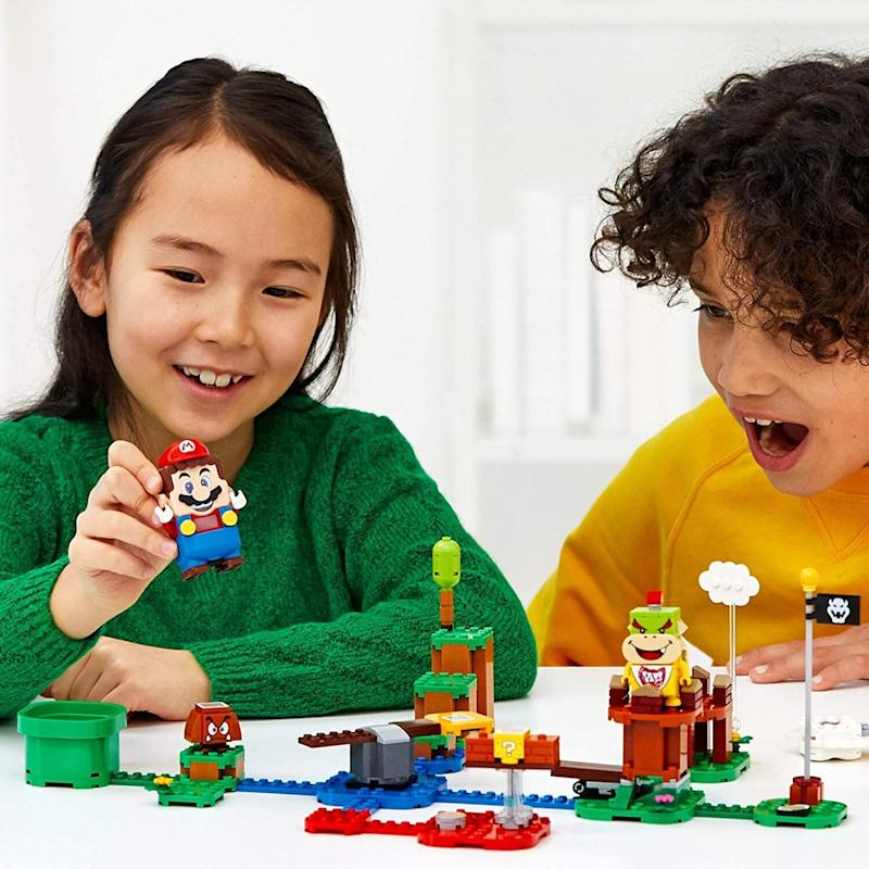 """You can bring Mario sort of to life with <a href=""""https://amzn.to/3chAb9o"""" target=""""_blank"""" rel=""""noopener noreferrer"""">this Lego course for kids</a>. The Mario figure has a color sensor, speaker that plays sounds from the video game andLCD screens in his eyes. In this play set, Mario collects coins and kids can build (or rebuild) the course whenever they want.<a href=""""https://amzn.to/3chAb9o"""" target=""""_blank"""" rel=""""noopener noreferrer"""">Find it for $60 at Amazon</a>. There's an <a href=""""https://amzn.to/2ZUZ85J"""" target=""""_blank"""" rel=""""noopener noreferrer"""">expansion set</a>, too."""