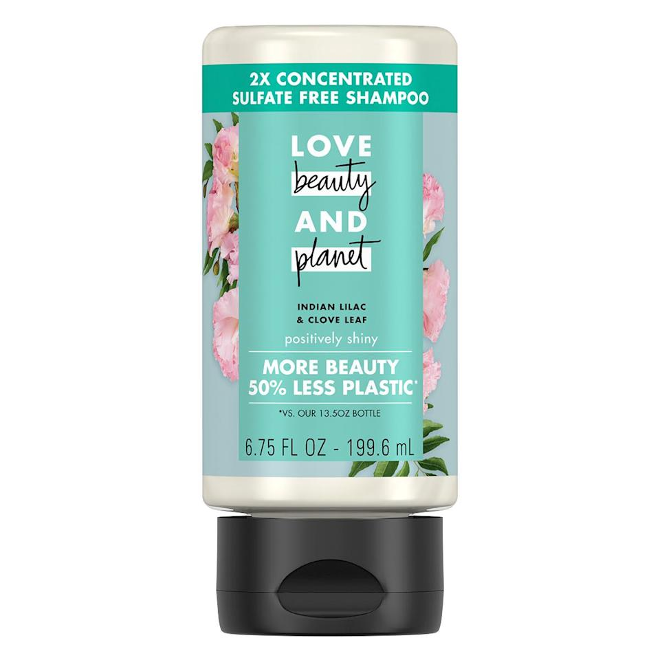 "<p>Formulas are generally made from more than 70 percent water. Try a concentrated version that requires less water to make. This bottle is made of 100 percent recycled plastic.</p> <p><strong>Buy It!</strong> Love Beauty and Planet Concentrated Shampoo, $7; <a href=""https://www.walmart.com/ip/Love-Beauty-and-Planet-2X-Concentrated-Sulfate-Free-Shampoo-Indian-Lilac-Clove-Leaf-6-75-oz/592886588"" rel=""nofollow noopener"" target=""_blank"" data-ylk=""slk:walmart.com"" class=""link rapid-noclick-resp"">walmart.com</a></p>"