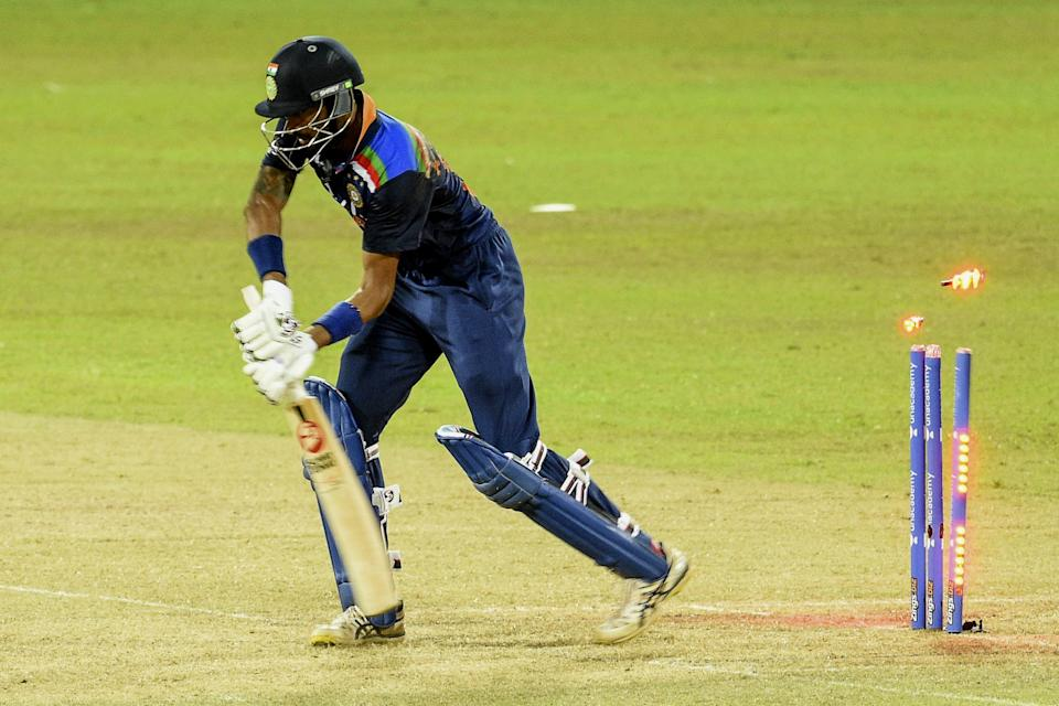 India's Krunal Pandya is dismissed by Sri Lanka's Wanindu Hasaranga (not pictured) during the second one-day international (ODI) cricket match between Sri Lanka and India at the R.Premadasa Stadium in Colombo on July 20, 2021. (Photo by ISHARA S. KODIKARA / AFP) (Photo by ISHARA S. KODIKARA/AFP via Getty Images)