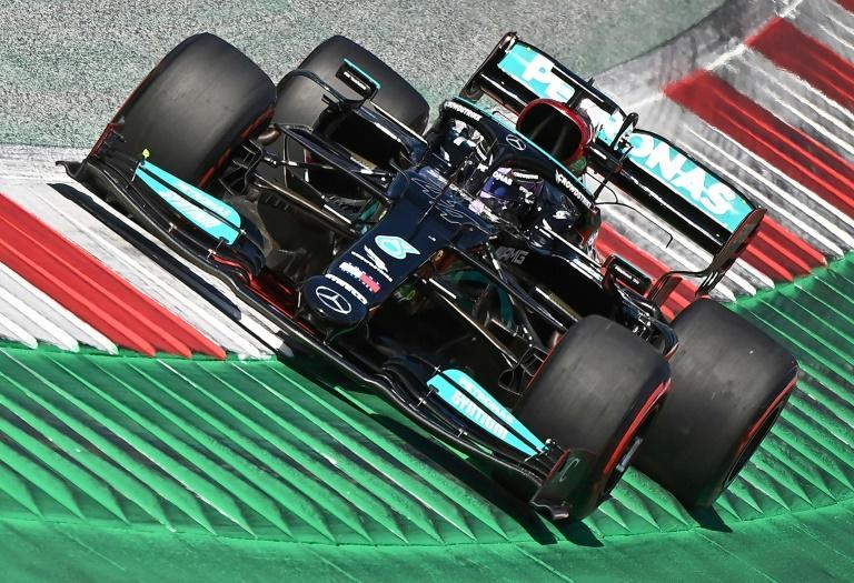 Mercedes' driver Lewis Hamilton finished third in qualifying but will start on the front row alongside Verstappen