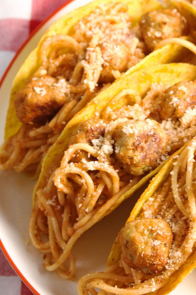 "<p>Not your average taco.</p><p>Get the recipe from <a rel=""nofollow"" href=""http://www.delish.com/cooking/recipe-ideas/recipes/a52670/spaghetti-meatball-tacos-recipe/"">Delish</a>.</p>"