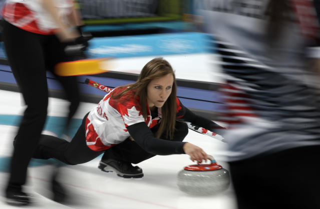 <p>Canada's skip Rachel Homan prepares to throw the stone during their women's curling match against South Korea at the 2018 Winter Olympics in Gangneung, South Korea, Thursday, Feb. 15, 2018. (AP Photo/Aaron Favila) </p>