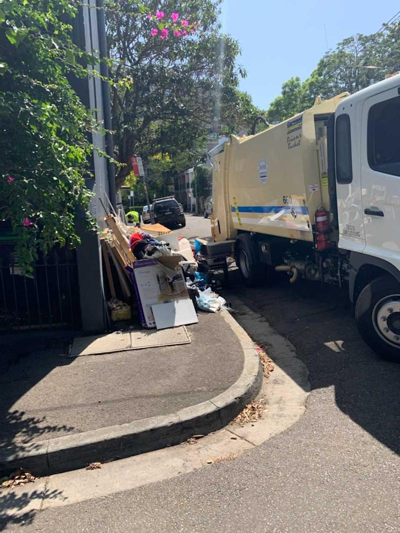 The rubbish has accumulated on Glebe Street in Edgecliff. Source: Riley Morgan