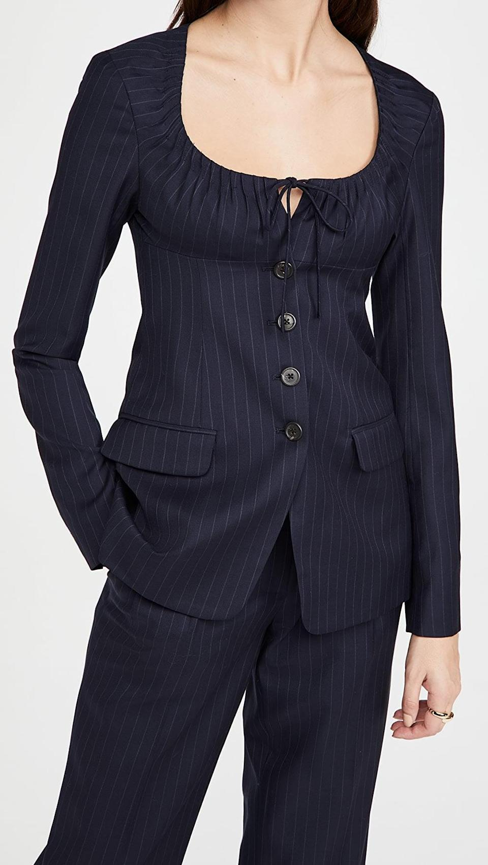 <p>This <span>By Any Other Name Scoop Neck Tailored Blazer</span> ($995) is high on my wish list. From the sleek profile to the ruched details, everything about it oozes femininity and effortless confidence. </p>