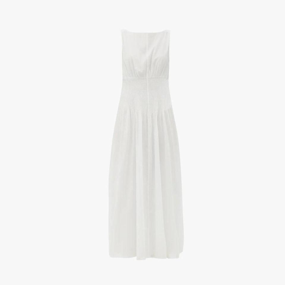 "$346, MATCHESFASHION.COM. <a href=""https://www.matchesfashion.com/us/products/Sir-Alina-pintucked-cotton-blend-maxi-dress-1393647"" rel=""nofollow noopener"" target=""_blank"" data-ylk=""slk:Get it now!"" class=""link rapid-noclick-resp"">Get it now!</a>"
