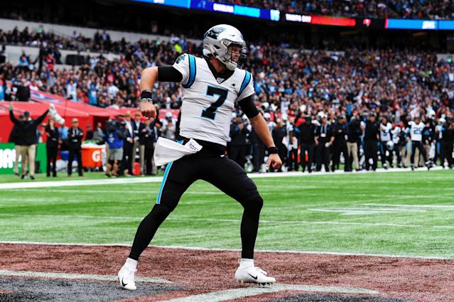 Kyle Allen celebrates during the Carolina Panthers' win over the Tampa Bay Buccaneers at Tottenham Hotspur Stadium on Oct. 13, 2019, in London. (Getty Images)