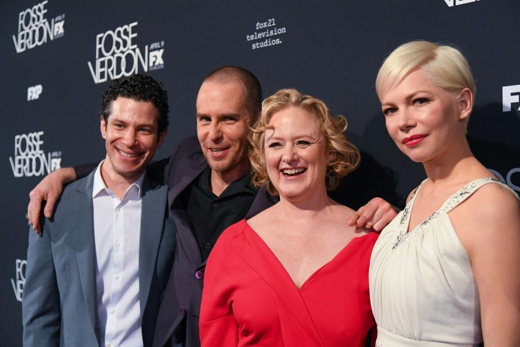 """Thomas Kail, left, appears alongside Sam Rockwell, Nicole Fosse, and Michelle Williams at the """"Fosse/Verdon"""" premiere on April 8 in New York City. (Photo: Mike Coppola/Getty Images)"""