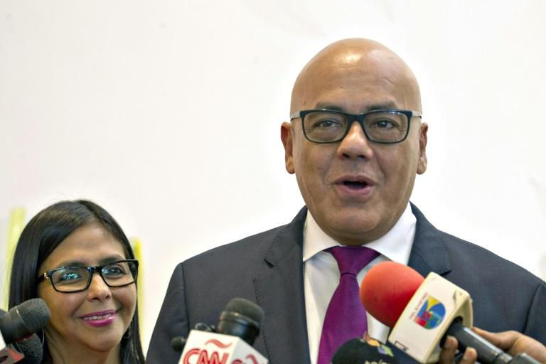 Emissaries of Venezuelan President Nicolas Maduro -- Delcy Rodriguez (L) and Jorge Rodriguez (R) -- hold exploratory talks with mediators in the Dominican Republic seeking to arrange a dialogue with the opposition over political turmoil in Caracas
