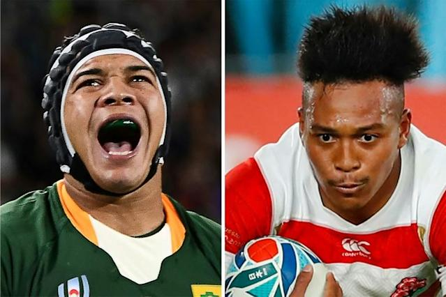 South Africa wing Cheslin Kolbe (L) and Japan's Kotaro Matsushima are both electric runners (AFP Photo/Anne-Christine POUJOULAT, Odd ANDERSEN)