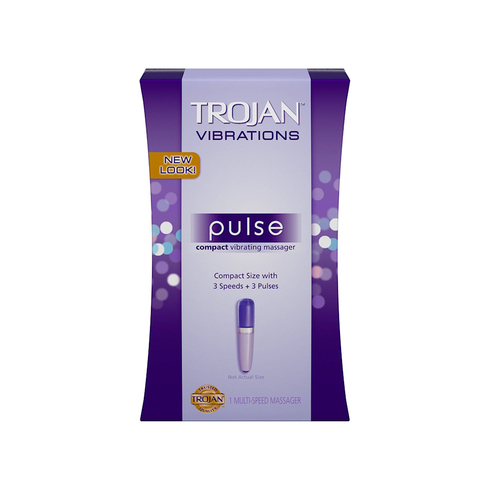 """""""The Trojan Pulse Compact Vibrating Massager is a new favorite on the market,"""" certified sex therapist <a href=""""https://www.modernintimacy.com/dr-kate-balestrieri-sex-therapist/"""" rel=""""nofollow noopener"""" target=""""_blank"""" data-ylk=""""slk:Kate Balestrieri"""" class=""""link rapid-noclick-resp"""">Kate Balestrieri</a>, Psy.D., tells <em>Glamour</em>. And judging by how quickly it's become a best-seller at places like Target, she's not wrong. """"It is sleek and, discreet, and its high-quality silicone tip vibrates in three distinct patterns of pulsation, with three different speeds,"""" Balestrieri says. She adds that it's affordable and waterproof—in a nutshell, """"a promising, pleasure-packed vibrator for precision clitoral stimulation in any body of water."""" $28, Target. <a href=""""https://www.target.com/p/trojan-pulse-intimate-vibrating-massager/-/A-13969318"""" rel=""""nofollow noopener"""" target=""""_blank"""" data-ylk=""""slk:Get it now!"""" class=""""link rapid-noclick-resp"""">Get it now!</a>"""