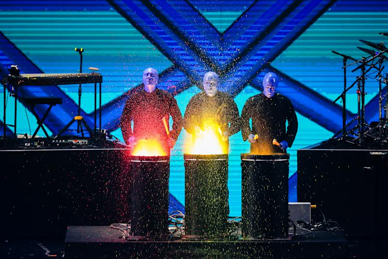 SHANGHAI, CHINA - NOVEMBER 10: Blue Man Group performs on the stage during 2017 Alibaba Singles' Day Global Shopping Festival gala at Mercedes-Benz Arena on November 10, 2017 in Shanghai, China. (Photo by VCG/VCG via Getty Images)