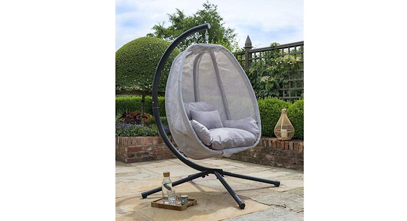 Grey Cocoon Hanging Egg Chair Swing