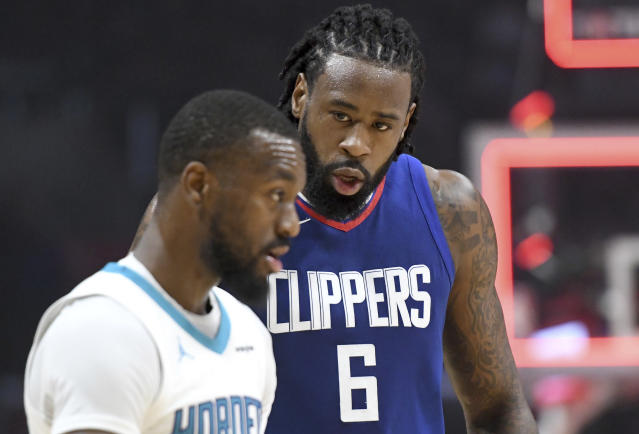 "Former All-Stars <a class=""link rapid-noclick-resp"" href=""/ncaaf/players/255448/"" data-ylk=""slk:DeAndre Jordan"">DeAndre Jordan</a> and <a class=""link rapid-noclick-resp"" href=""/nba/players/4890/"" data-ylk=""slk:Kemba Walker"">Kemba Walker</a> are among the big names on the NBA trade market. (AP)"
