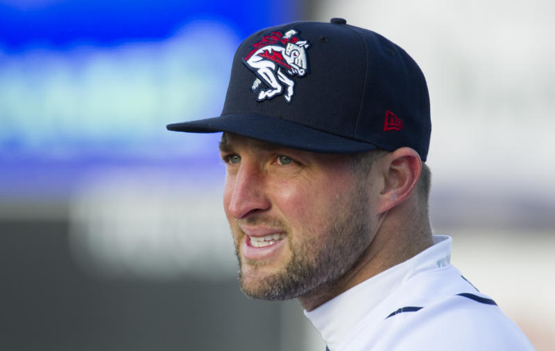 Tim Tebow, shown with the Binghamton Rumble Ponies, has an invitation to join the new AAF football league in 2019. (AP)
