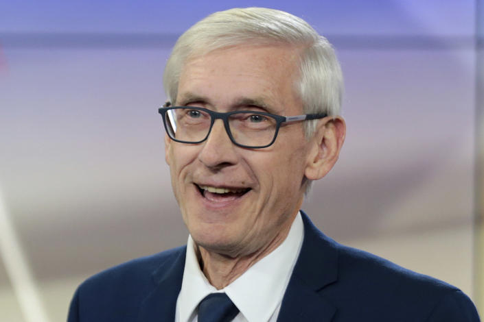 Wisconsin Democratic gubernatorial candidate Tony Evers addresses an event before the start of a gubernatorial debate with incumbent GOP Gov. Scott Walker in Madison, Wis. (Steve Apps/Wisconsin State Journal via AP, File)
