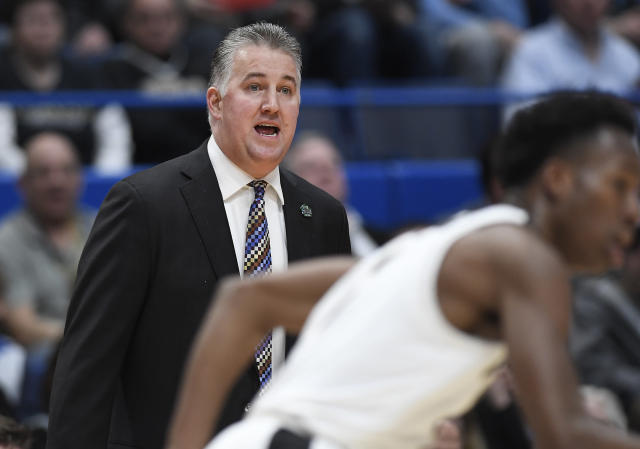 Purdue coach Matt Painter calls out to his players during the first half against Old Dominion in a first-round game in the NCAA mens college basketball tournament Thursday, March 21, 2019, in Hartford, Conn. (AP Photo/Jessica Hill)