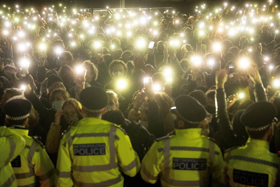 The police response at a vigil on Clapham Common has been heavily criticisedPA Wire