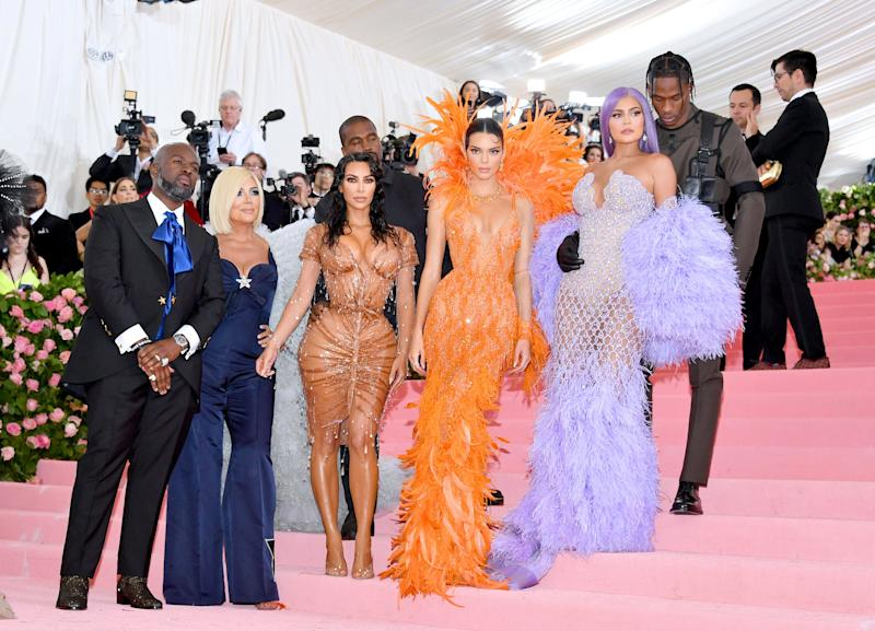 NEW YORK, NEW YORK - MAY 06: Corey Gamble, Kris Jenner, Kanye West, Kim Kardashian West, Kendall Jenner, Kylie Jenner and Travis Scott attend The 2019 Met Gala Celebrating Camp: Notes on Fashion at Metropolitan Museum of Art on May 06, 2019 in New York City. (Photo by Dia Dipasupil/FilmMagic)
