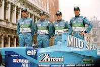 L-R: Jenson Button and Giancarlo Fisichella with Fernando Alonso and Mark Webber at the launch of the Mild Seven Benetton Renault Sport B201 car in Venice