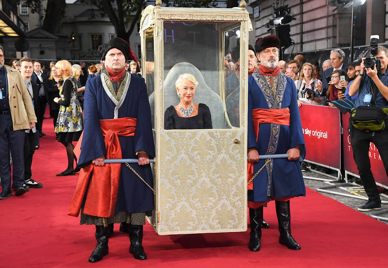 "The Dame has arrived! Mirren was carried into the September 2019 premiere of <em>Catherine the Great</em>, where she was <a href=""https://people.com/royals/the-crown-showrunner-helen-mirren-next-queen-elizabeth/"">treated like royalty</a>."