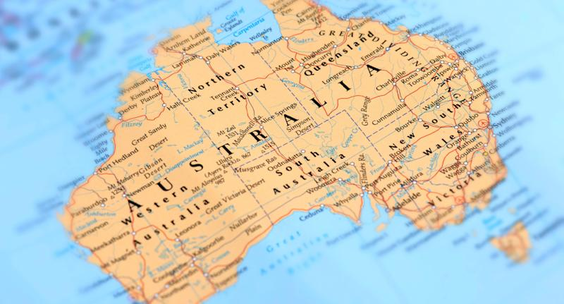 Pictured is a map of Australia.