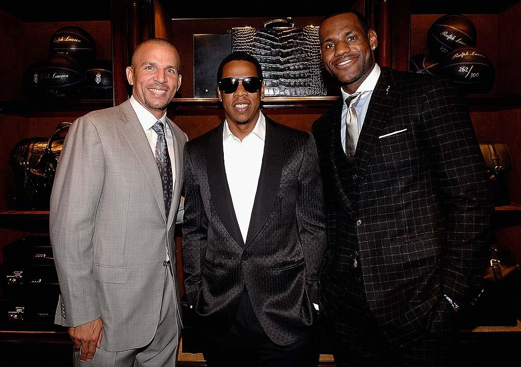 """Jason Kidd joins fellow ballers Jay-Z and Lebron for a photo-op. Limited edition Ralph Lauren Purple Label basketballs were sold at the event for charity. Jamie McCarthy/<a href=""""http://www.wireimage.com"""" target=""""new"""">WireImage.com</a> - September 10, 2008"""