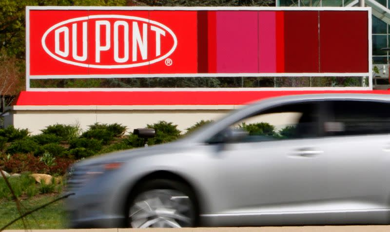 A view of the Dupont logo on a sign at the Dupont Chestnut Run Plaza facility near Wilmington, Delaware