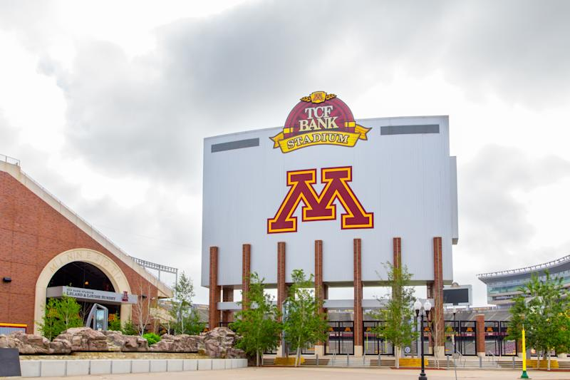 TCF Bank Stadium on the campus of the University of Minnesota. TCF Bank is an outdoor stadium and home to the Minnesota Golden Gophers football team.
