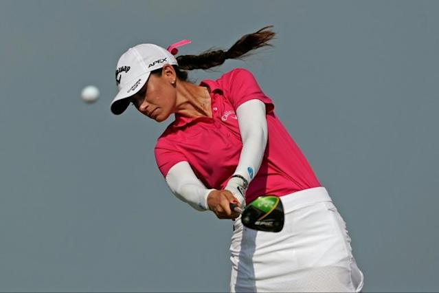 Cheyenne Knight tees off on the second hole during the final round of the Volunteers of America Classic golf tournament in The Colony, Texas (AFP Photo/Chuck Burton)