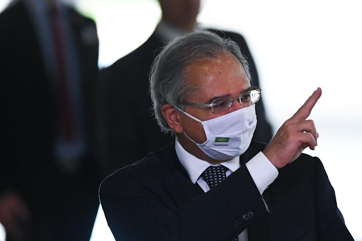 Brazil's Economy Minister Paulo Guedes reacts after the swearing-in ceremony of the Brazil's Tourism Minister Gilson Machado, amidst the Coronavirus (COVID - 19) pandemic at Planalto Palace on December 17, 2020 in Brasilia. (Photo by Andre Borges/NurPhoto via Getty Images)