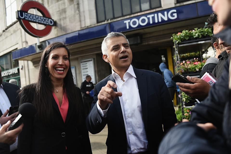 LONDON, ENGLAND - MAY 16:  Sadiq Khan, the new Mayor of London campaigns outside Tooting Broadway Underground station with Labour Party candidate for the local by-election Rosena Allin-Khan on May 16, 2016 in London, England. Rosena Allin-Khan is a junior accident and emergency doctor and mother of two who grew up in the constituency where Sadiq Khan's election to London Mayor has prompted a by-election. (Photo by Mary Turner/Getty Images)