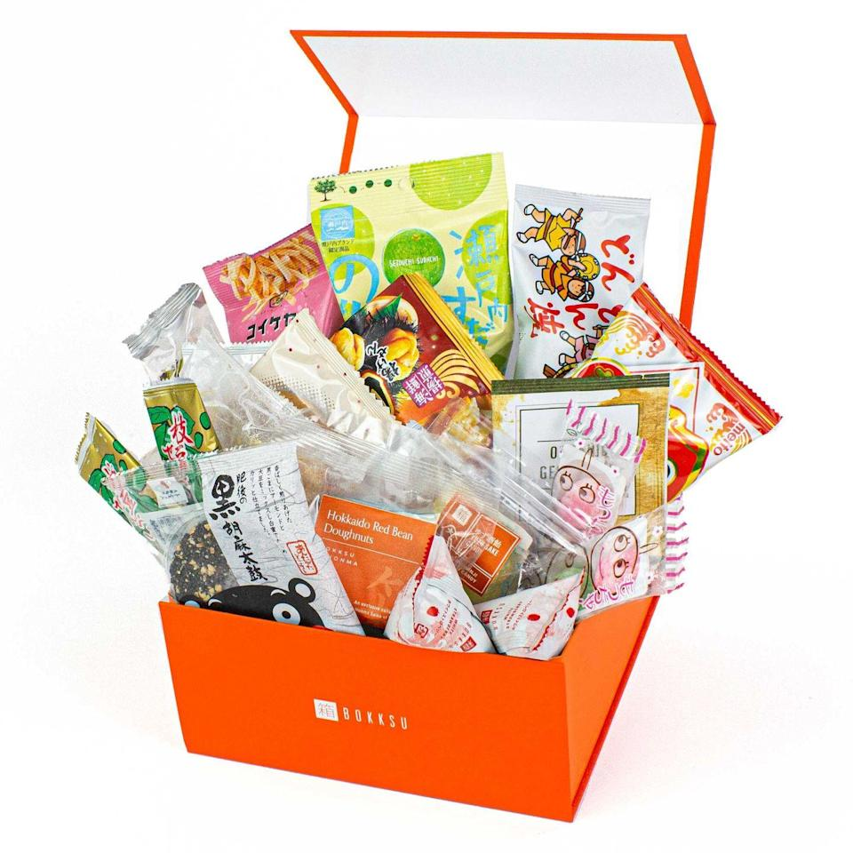 """<p>Try out popular Japanese snacks with Bokksu, a subscription plan that hand picks the most popular foods from the area. Bokksu is a family-run business from Japan, so you know your box is coming straight from the source!</p><p><a class=""""link rapid-noclick-resp"""" href=""""https://go.redirectingat.com?id=74968X1596630&url=https%3A%2F%2Fwww.bokksu.com%2Fproducts%2Fclassic-bokksu&sref=https%3A%2F%2Fwww.delish.com%2Fkitchen-tools%2Fg36689067%2Fbest-snack-subscription-boxes%2F"""" rel=""""nofollow noopener"""" target=""""_blank"""" data-ylk=""""slk:SUBSCRIBE"""">SUBSCRIBE</a></p>"""