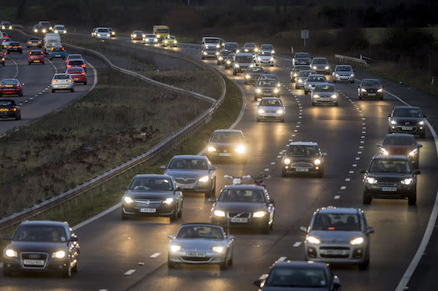File photo dated 19/12/14 of traffic on the M5 motorway, Somerset. New diesel and petrol cars and vans will be banned from 2040 as part of efforts to tackle air pollution, the Government is expected to announce.