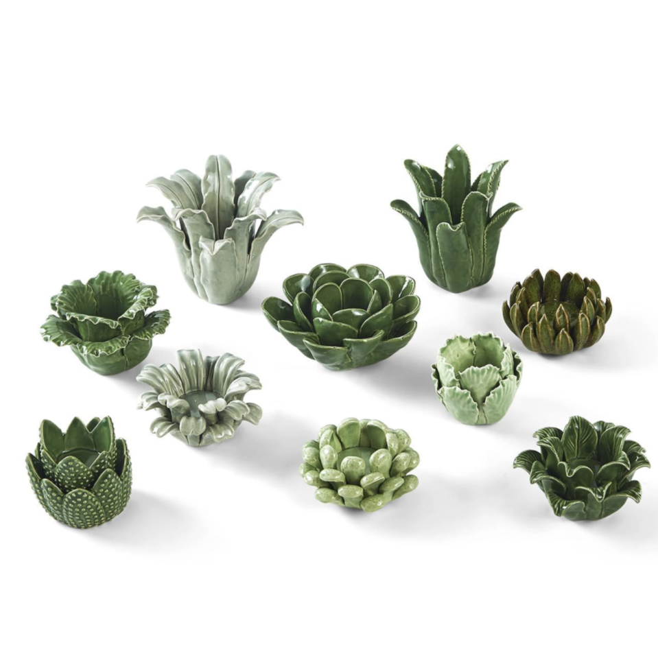 """<p>shopsocietysocial.com</p><p><strong>$168.95</strong></p><p><a href=""""https://www.shopsocietysocial.com/collections/decorative-accessories/products/set-of-10-succulent-candleholder"""" rel=""""nofollow noopener"""" target=""""_blank"""" data-ylk=""""slk:Shop Now"""" class=""""link rapid-noclick-resp"""">Shop Now</a></p><p>Named one of our <a href=""""https://www.housebeautiful.com/shopping/g34609188/2021-best-home-stores/"""" rel=""""nofollow noopener"""" target=""""_blank"""" data-ylk=""""slk:Best Home Stores in America,"""" class=""""link rapid-noclick-resp"""">Best Home Stores in America, </a>Society Social was founded in 2011 by Filipino-American Roxy Te, who adapted artisan techniques from the Philippines to her trademark grasscloth and rattan items. The company now sells a cheerful array of furniture, accessories, tabletop decor, and more, both in their Charlotte, North Carolina, store and online. </p>"""